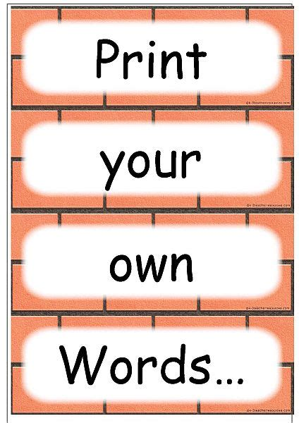 Word Wall Cards Template Blank by Editable Word Card Templates