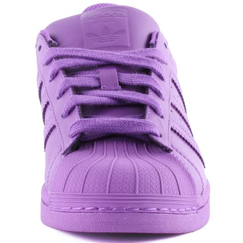 adidas superstar supercolour womens leather purple trainers  shoes  sizes