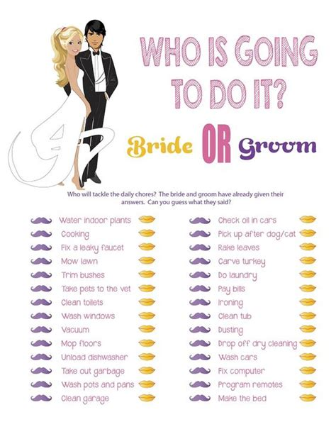 printable games for married couples bridal shower game quot who is going to do it quot couples shower