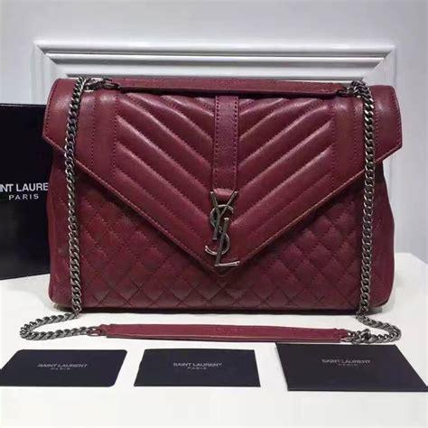 saint laurent large monogram envelope satchel  red mixed