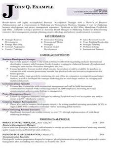 resume sle for business development executive resume sles types of resume formats exles and