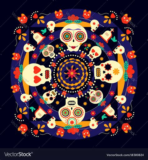 day of the dead background day of the dead sugar skull background vector image