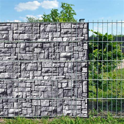 bedruckter sichtschutz garten steinlabyrinth doppelstabmatten sichtschutzstreifen