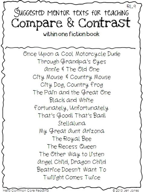 Fiction Compare And Contrast Essay by Compare And Contrast Reading Passages 3rd Grade Free 1000 Ideas About Compare And Contrast On