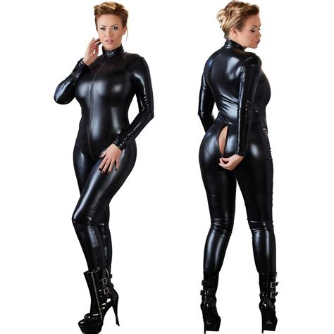 Cat Time Black Leather black open crotch zentai catsuit jumpsuit faux