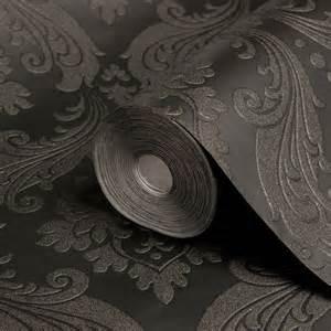 Graham amp brown kelly hoppen black damask wallpaper departments diy