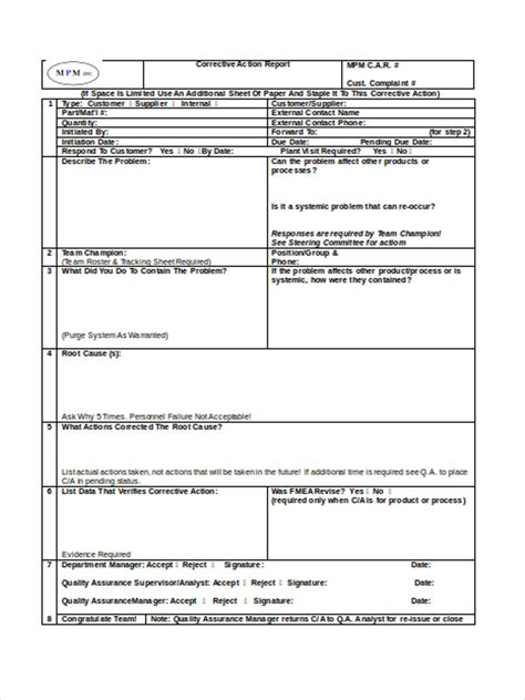 Corrective Form Template 22 Corrective Action Form Exle