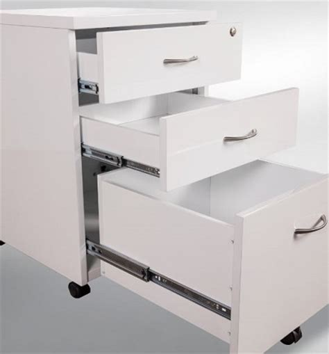 white gloss mobile drawer unit office furniture