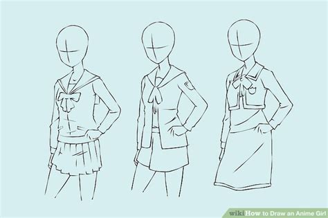 how to draw a simple anime girl step by step anime 4 ways to draw an anime girl wikihow