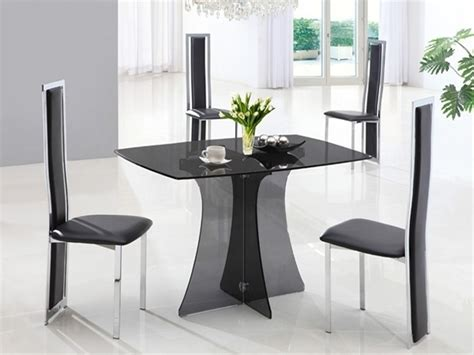 Smoked Glass Dining Table And Chairs Smoked Dining Table Glass And 4 Black Chairs Homegenies