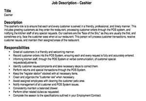 restaurant cashier description restaurant cashier