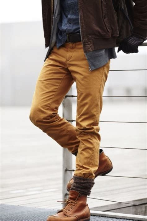 khakis and boots tucking into socks boots malefashionadvice