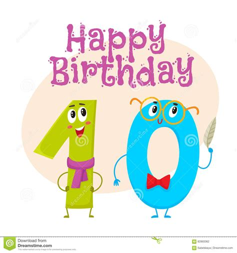 Happy Birthday Cards Characters Happy Birthday Vector Greeting Card Design With Ten Number