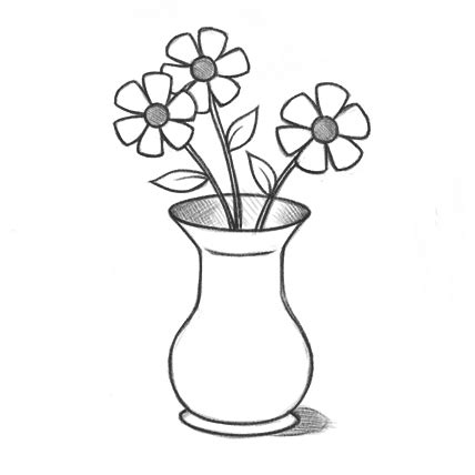 Sketch Of A Vase by Pics For Gt Pencil Drawings Of Flowers In A Vase