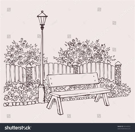 the bench com vector drawing a lantern in the park near the bench