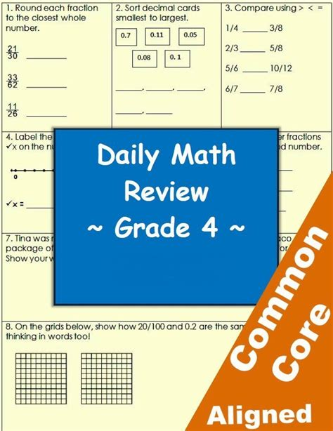 common math workbook grade 4 choice daily math practice grade 4 common math review workheets classroom caboodle