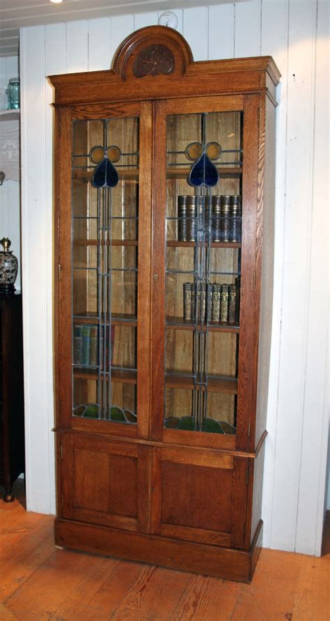 solid oak arts and crafts glazed bookcase 264299