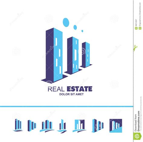 real estate skyscraper building logo icon stock vector