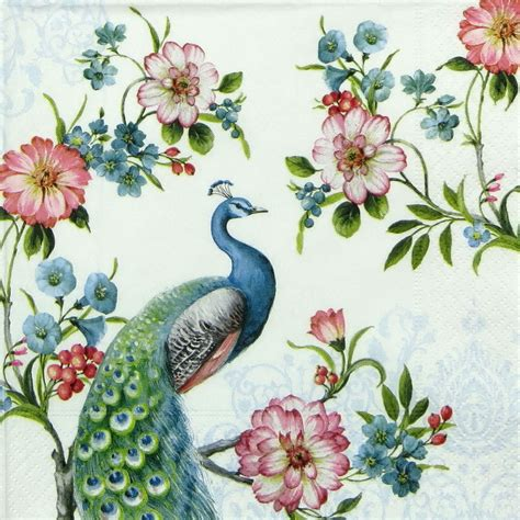 Napkins For Decoupage - 4x peacock paper napkins for decoupage decopatch craft ebay