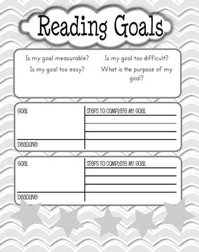 printable reading goal sheets reading goals kaylee s education studio