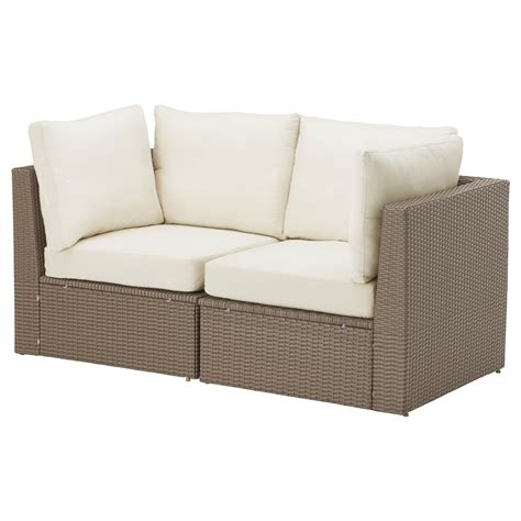 arholma 2 seat sofa outdoor brown beige 152x76x66 cm ikea