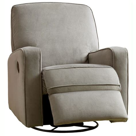 gray rocker recliner for nursery colton gray fabric modern nursery swivel glider recliner