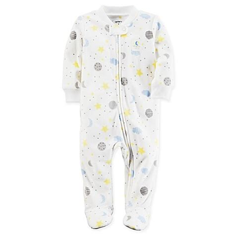 Kaos Carters Size 9 M boys sleepwear gt s 174 size 9m moon and fleece footie pajama in white from buy buy baby
