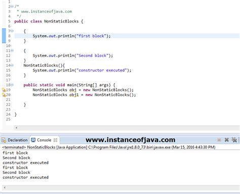 pattern java static non static blocks in java exle tutorial java