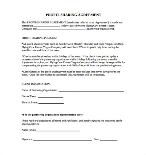 sle profit sharing agreement 10 free documents in