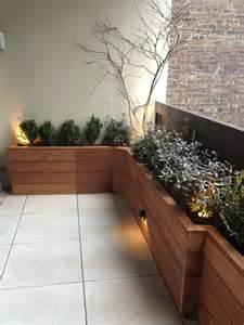 terrace with custom planter box built with mahogany wood