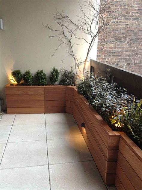 terrace  custom planter box built  mahogany wood