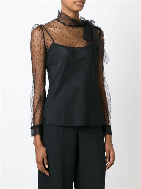 Sheer Black Blouse With Bow by Valentino Sheer Dotted Print Bow Blouse In Black Lyst