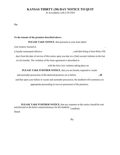 Service Letter Kansas Free Kansas 30 Day Notice To Quit Form 2nd Non Compliance Pdf Eforms Free Fillable Forms