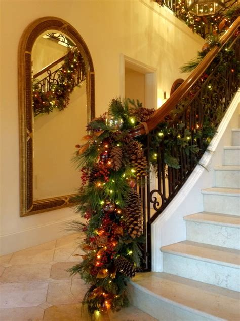 banister christmas ideas holiday decor stair banister garland traditional