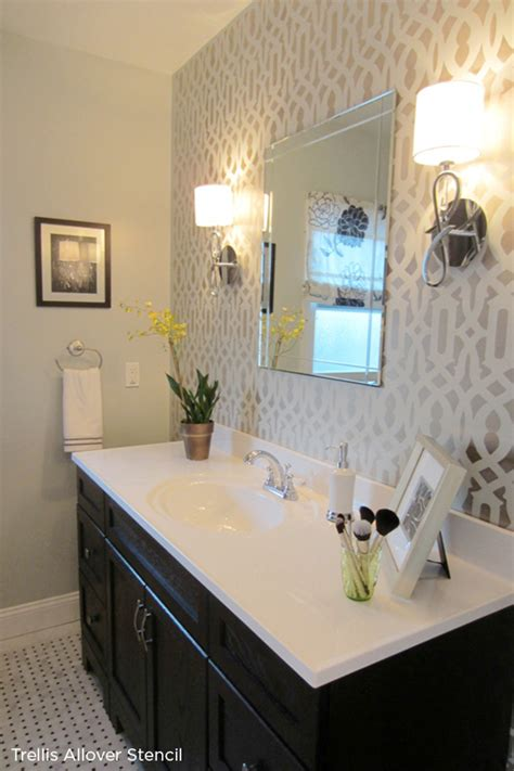 accent wall in bathroom hgtv s power broker features the trellis allover stencil