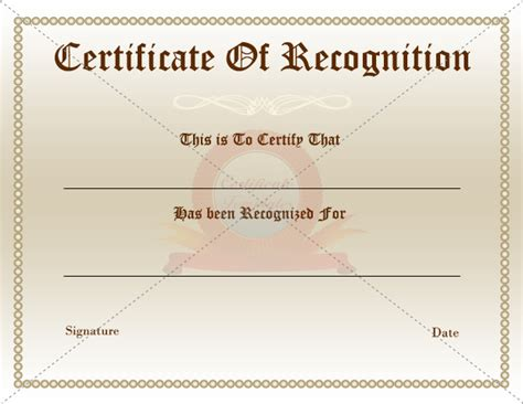 certificate of appreciation or recognition award template