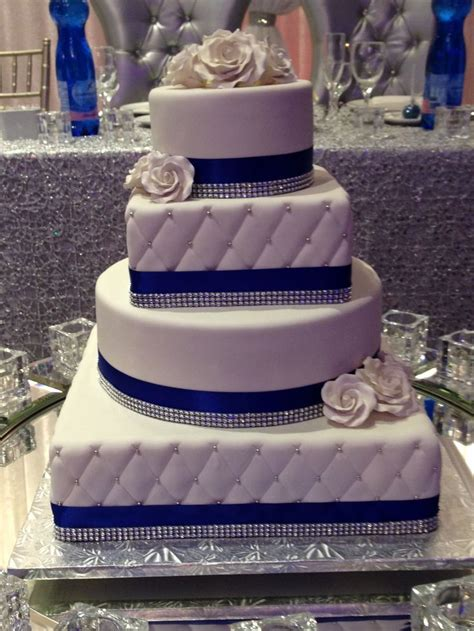 square wedding cake royal blue trimmed 4 tier and square wedding cake