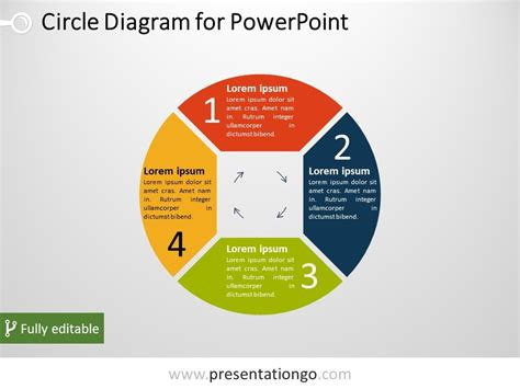 Free 4 Part Circle Powerpoint Diagram Powerpoint Ppt Diagram Template Free With