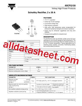 transistor datasheet vishay 60cpq150 datasheet pdf vishay siliconix
