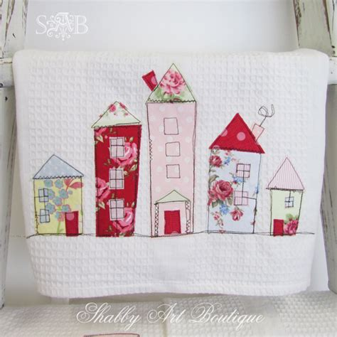 Handmade Tea Towels - topsy turvy houses shabby boutique