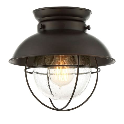 Flush Mounted Light Fixtures 251 River Station Rubbed Bronze One Light Industrial Lantern Flush Mount On Sale