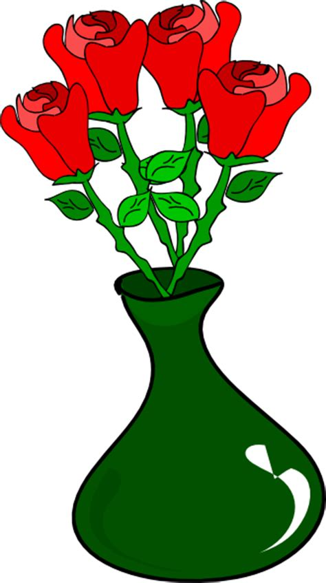 Clipart Flower Vase by Vase Of Roses Clip At Clker Vector Clip