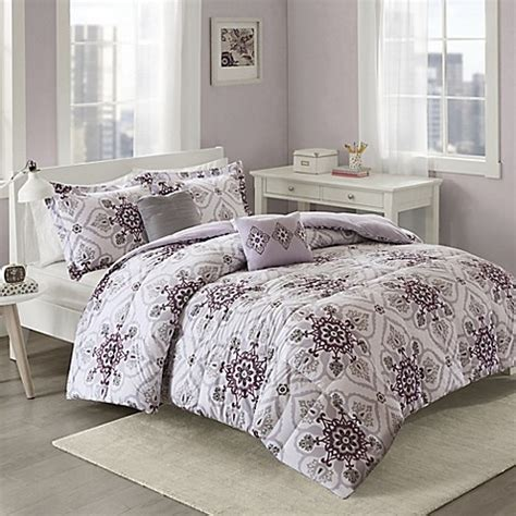 purple and grey comforter set cozy soft 174 cassy comforter set in purple grey bed bath