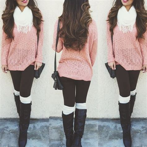 cute pink sweater  white scarf black skinnies black