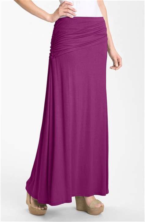 bobeau asymmetric knit maxi skirt in purple purple rosea