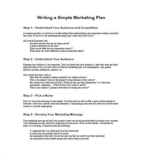 writing a marketing plan template one page marketing plan template 10 free sle