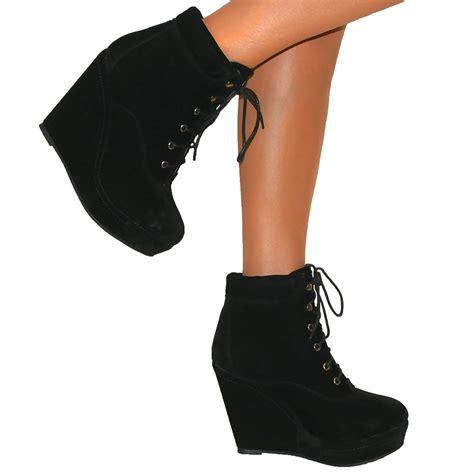 black high heel wedge boots womens black wedge high heel platform suede lace up shoes
