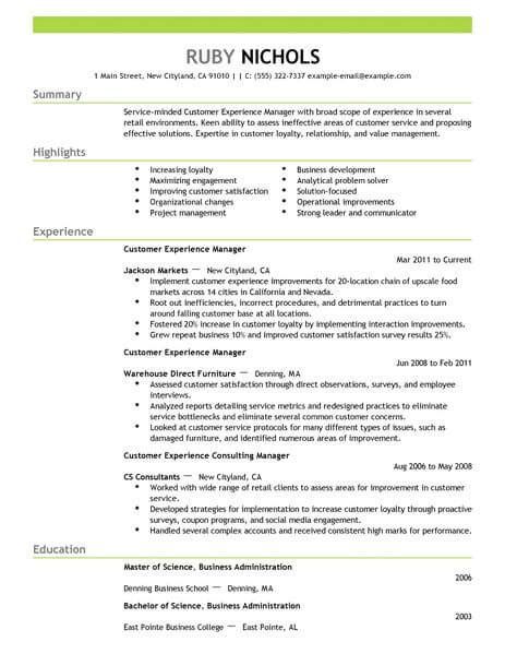 Customer Service Experience Resume by Best Customer Experience Manager Resume Exle Livecareer