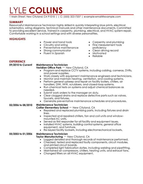 Maintenance Mechanic Resume by Maintenance Technician Resume Sle Technician Resumes