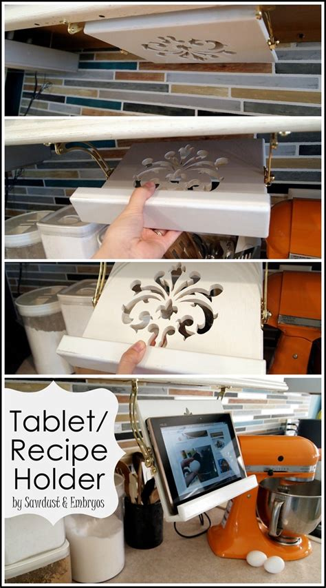 cabinet tablet holder diy tablet recipe book holder cabinets